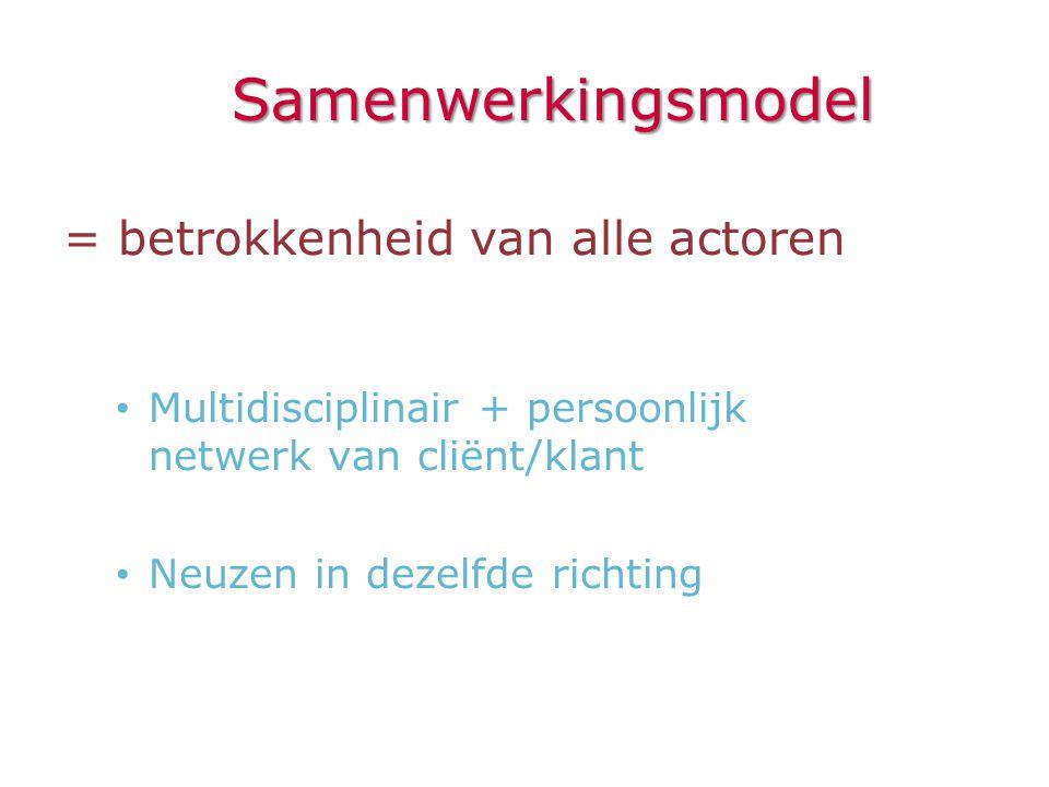 Samenwerkingsmodel = betrokkenheid van alle actoren • Multidisciplinair + persoonlijk netwerk van cliënt/klant • Neuzen in dezelfde richting
