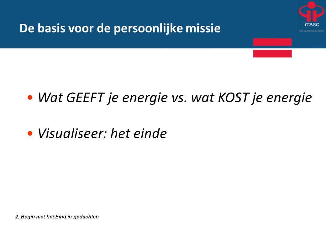 2. Begin met het Eind in gedachten • Wat GEEFT je energie vs. wat KOST je energie • Visualiseer: het einde De basis voor de persoonlijke missie