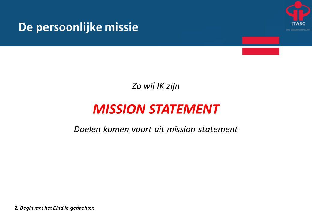 2. Begin met het Eind in gedachten Zo wil IK zijn MISSION STATEMENT Doelen komen voort uit mission statement De persoonlijke missie