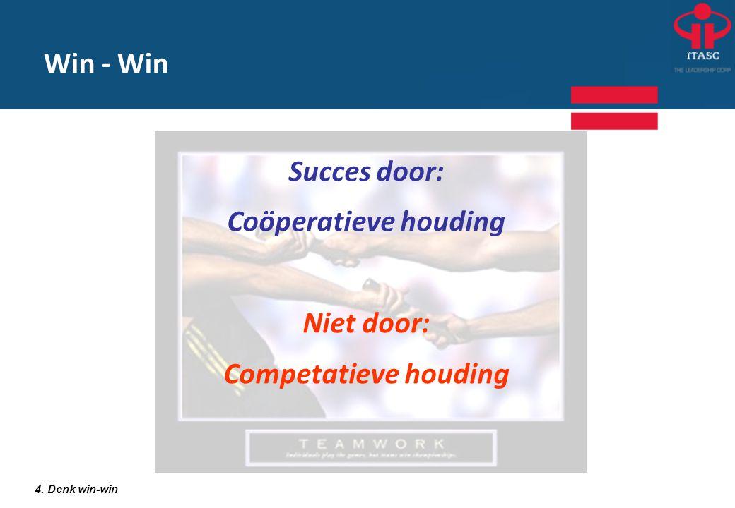 Succes door: Coöperatieve houding Niet door: Competatieve houding 4. Denk win-win Win - Win