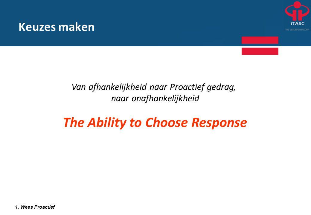 Van afhankelijkheid naar Proactief gedrag, naar onafhankelijkheid The Ability to Choose Response 1. Wees Proactief Keuzes maken