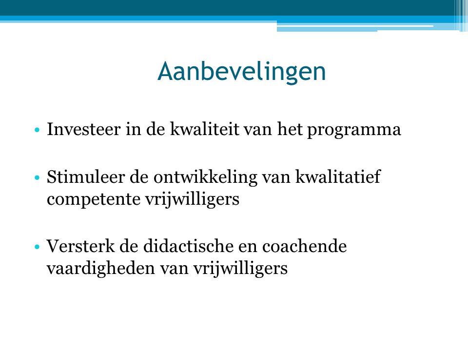 Aanbevelingen •Investeer in de kwaliteit van het programma •Stimuleer de ontwikkeling van kwalitatief competente vrijwilligers •Versterk de didactisch