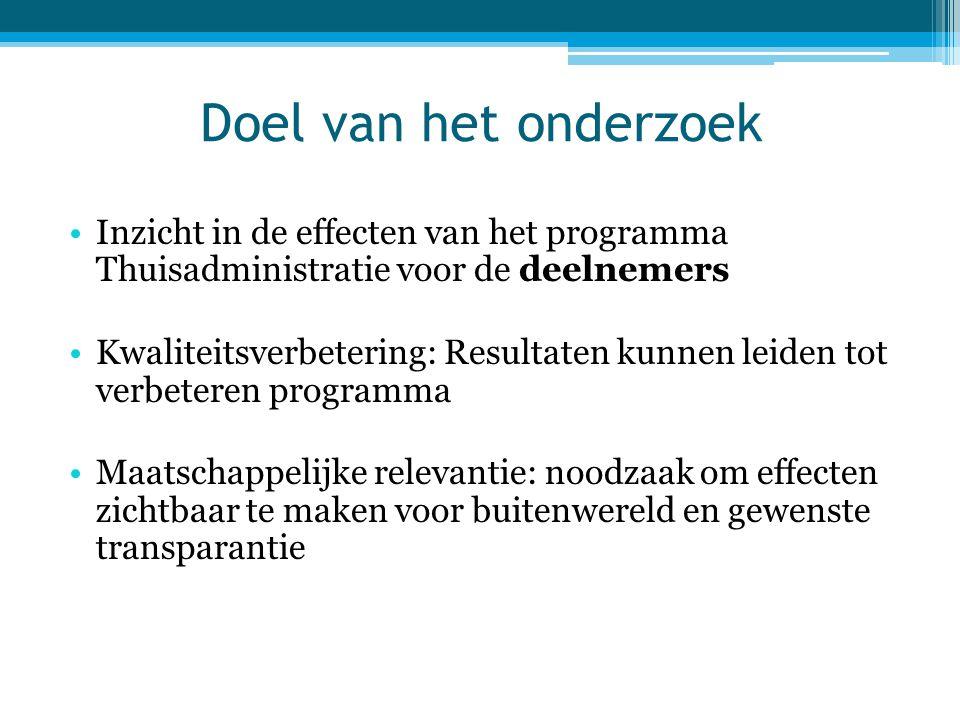 Doel van het onderzoek •Inzicht in de effecten van het programma Thuisadministratie voor de deelnemers •Kwaliteitsverbetering: Resultaten kunnen leide