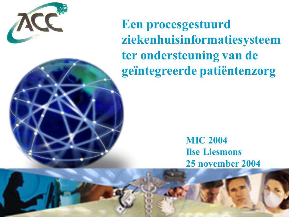 Een procesgestuurd ziekenhuisinformatiesysteem ter ondersteuning van de geïntegreerde patiëntenzorg MIC 2004 Ilse Liesmons 25 november 2004