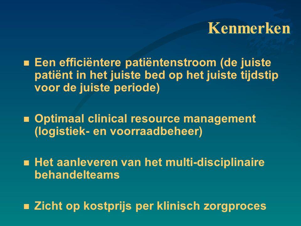 Kenmerken n Een efficiëntere patiëntenstroom (de juiste patiënt in het juiste bed op het juiste tijdstip voor de juiste periode) n Optimaal clinical r