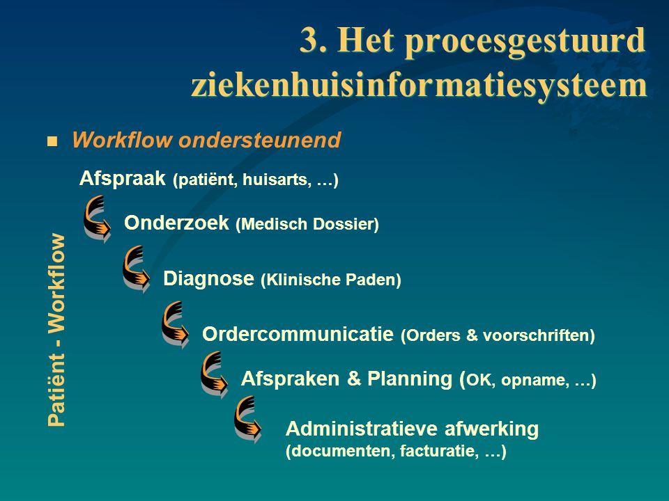 3. Het procesgestuurd ziekenhuisinformatiesysteem n Workflow ondersteunend Onderzoek (Medisch Dossier) Diagnose (Klinische Paden) Ordercommunicatie (O