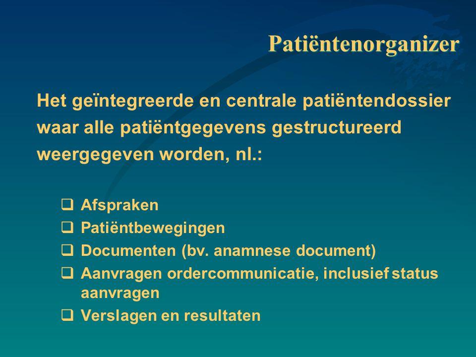 Patiëntenorganizer Het geïntegreerde en centrale patiëntendossier waar alle patiëntgegevens gestructureerd weergegeven worden, nl.:  Afspraken  Patiëntbewegingen  Documenten (bv.