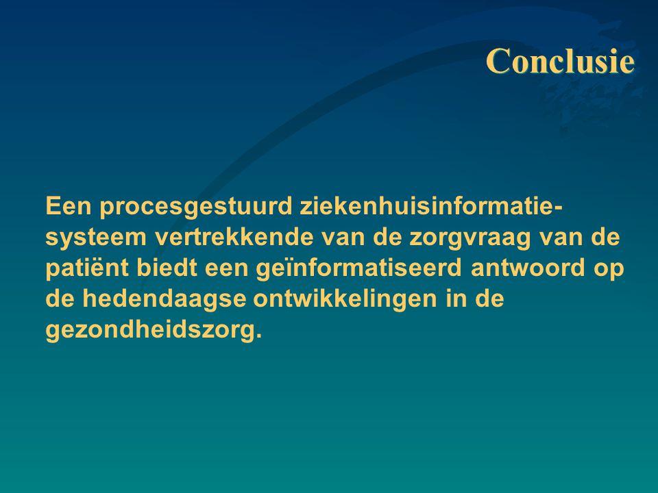 Conclusie Een procesgestuurd ziekenhuisinformatie- systeem vertrekkende van de zorgvraag van de patiënt biedt een geïnformatiseerd antwoord op de hedendaagse ontwikkelingen in de gezondheidszorg.