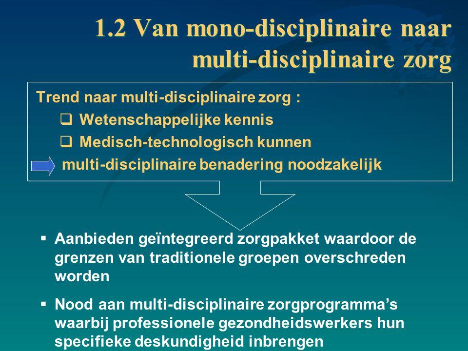1.2 Van mono-disciplinaire naar multi-disciplinaire zorg Trend naar multi-disciplinaire zorg :  Wetenschappelijke kennis  Medisch-technologisch kunn