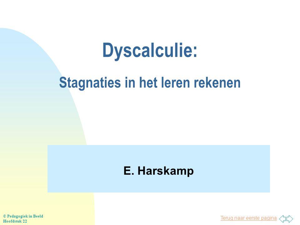 Terug naar eerste pagina Dyscalculie: Stagnaties in het leren rekenen E. Harskamp © Pedagogiek in Beeld Hoofdstuk 22