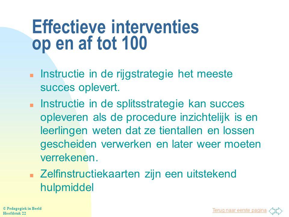 Terug naar eerste pagina Effectieve interventies op en af tot 100 n Instructie in de rijgstrategie het meeste succes oplevert. n Instructie in de spli