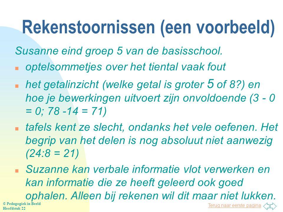 Terug naar eerste pagina Rekenstoornissen (een voorbeeld) Susanne eind groep 5 van de basisschool. n optelsommetjes over het tiental vaak fout n het g