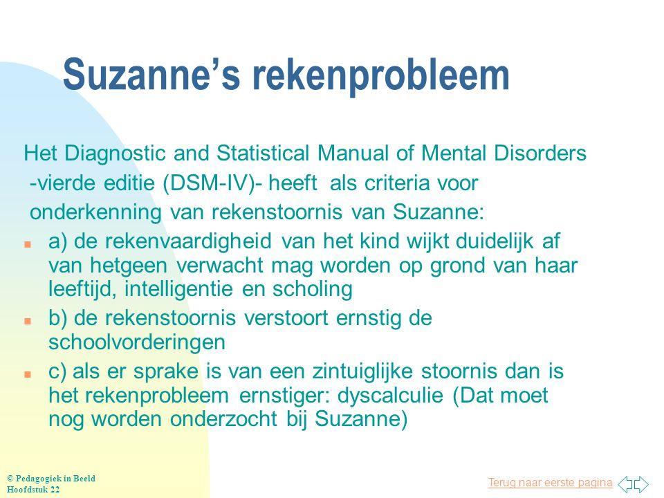 Terug naar eerste pagina Suzanne's rekenprobleem Het Diagnostic and Statistical Manual of Mental Disorders -vierde editie (DSM-IV)- heeft als criteria