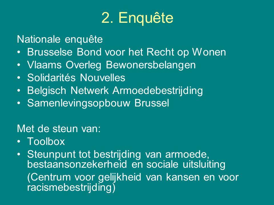2. Enquête Nationale enquête •Brusselse Bond voor het Recht op Wonen •Vlaams Overleg Bewonersbelangen •Solidarités Nouvelles •Belgisch Netwerk Armoede