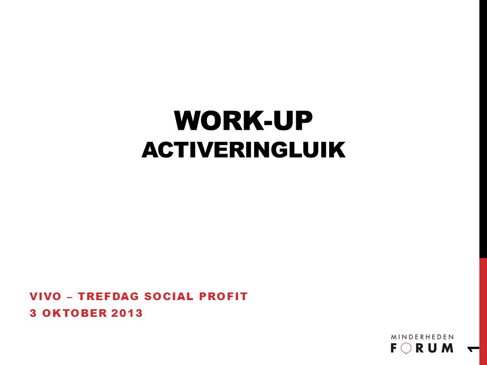 WORK-UP ACTIVERINGLUIK VIVO – TREFDAG SOCIAL PROFIT 3 OKTOBER 2013 1