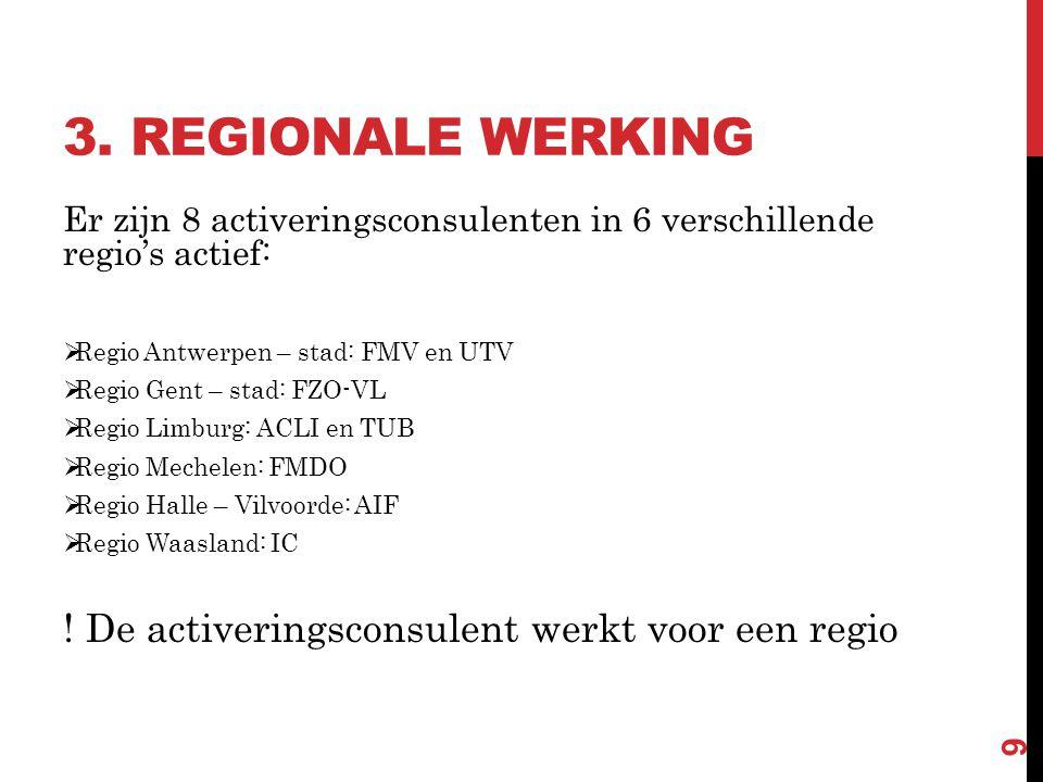 3. REGIONALE WERKING Er zijn 8 activeringsconsulenten in 6 verschillende regio's actief:  Regio Antwerpen – stad: FMV en UTV  Regio Gent – stad: FZO