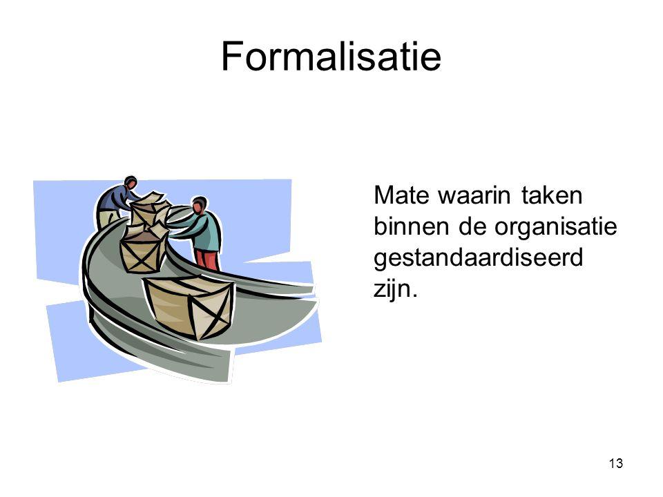 13 Formalisatie Mate waarin taken binnen de organisatie gestandaardiseerd zijn.