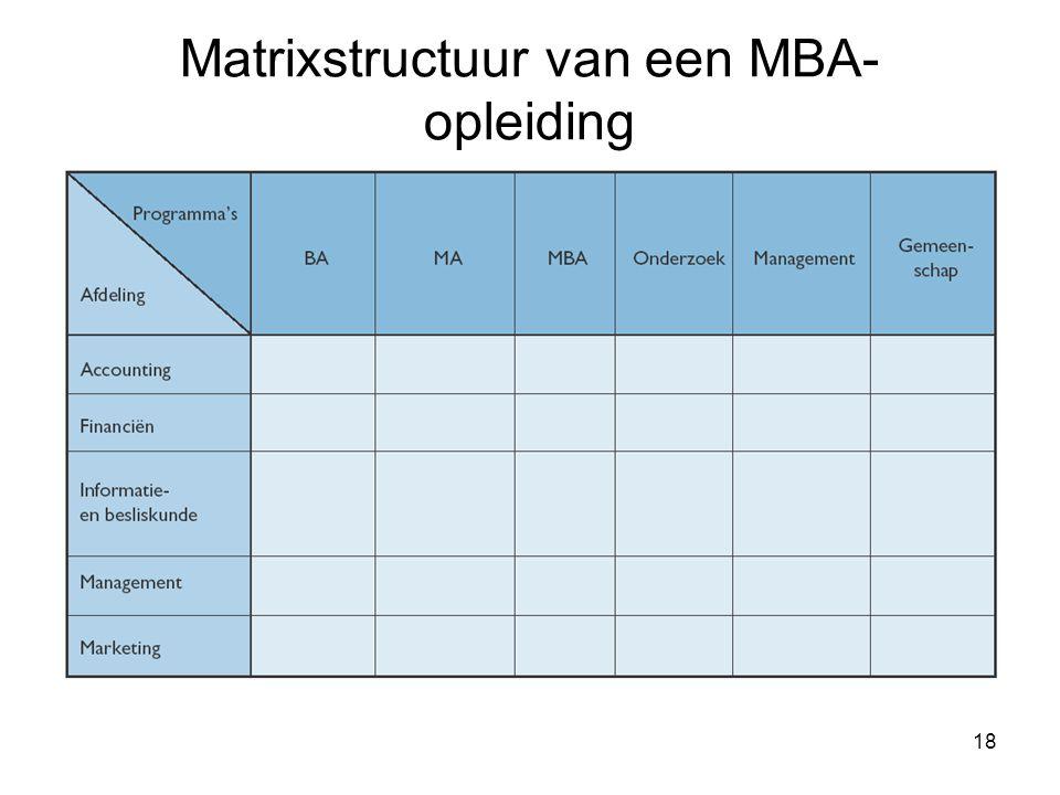 18 Matrixstructuur van een MBA- opleiding