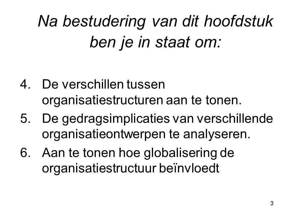 3 4.De verschillen tussen organisatiestructuren aan te tonen. 5.De gedragsimplicaties van verschillende organisatieontwerpen te analyseren. 6.Aan te t