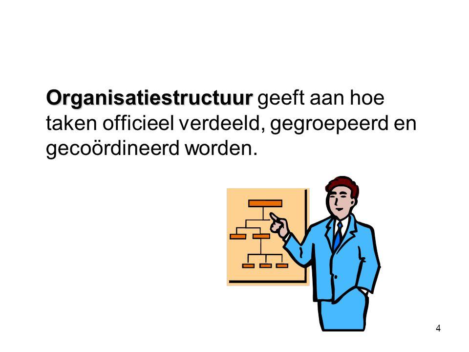 4 Organisatiestructuur Organisatiestructuur geeft aan hoe taken officieel verdeeld, gegroepeerd en gecoördineerd worden.