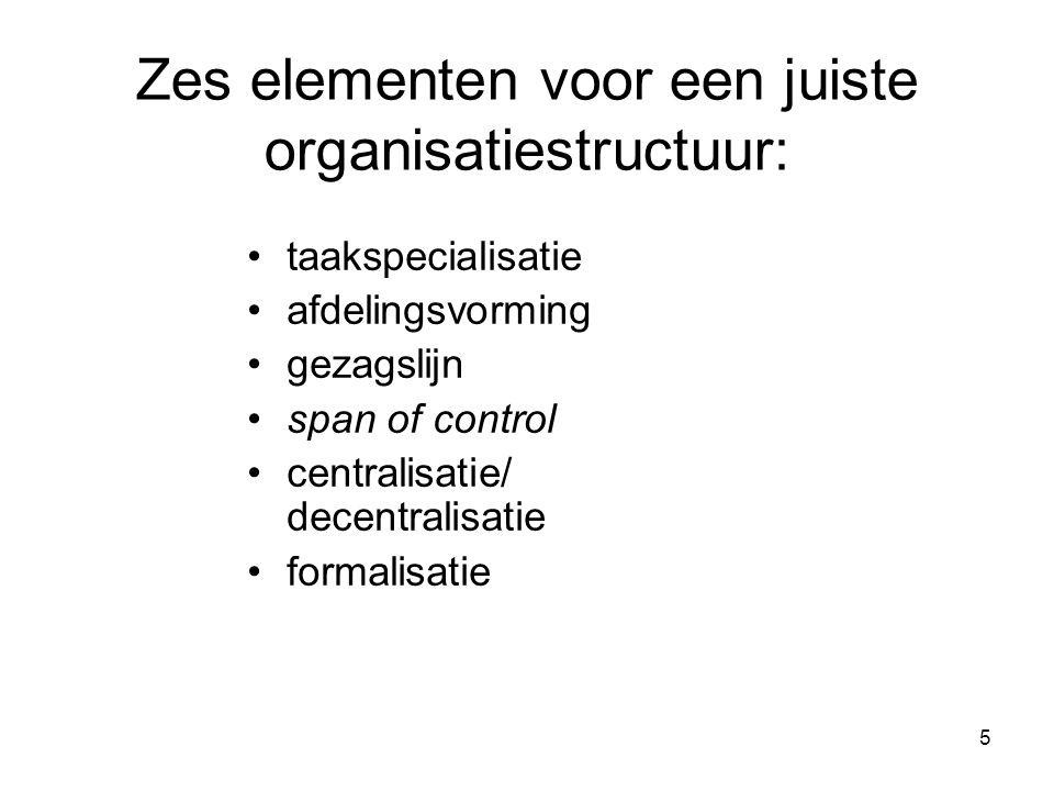 5 Zes elementen voor een juiste organisatiestructuur: •taakspecialisatie •afdelingsvorming •gezagslijn •span of control •centralisatie/ decentralisati