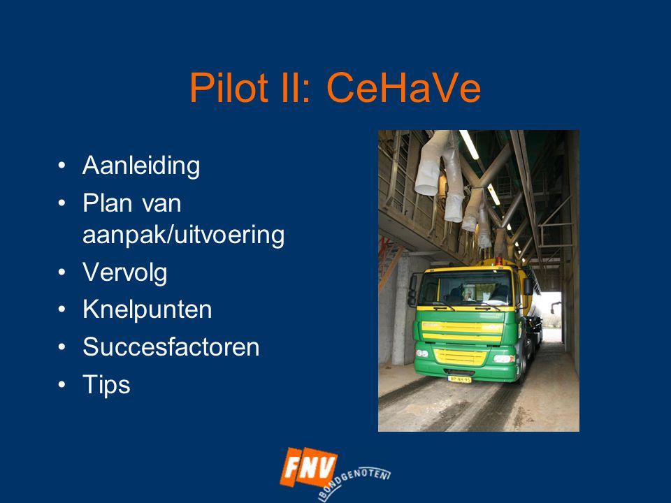 Pilot II: CeHaVe •Aanleiding •Plan van aanpak/uitvoering •Vervolg •Knelpunten •Succesfactoren •Tips