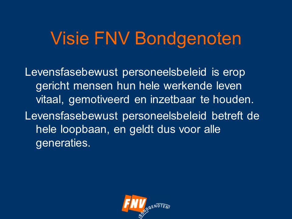 Visie FNV Bondgenoten Levensfasebewust personeelsbeleid is erop gericht mensen hun hele werkende leven vitaal, gemotiveerd en inzetbaar te houden.