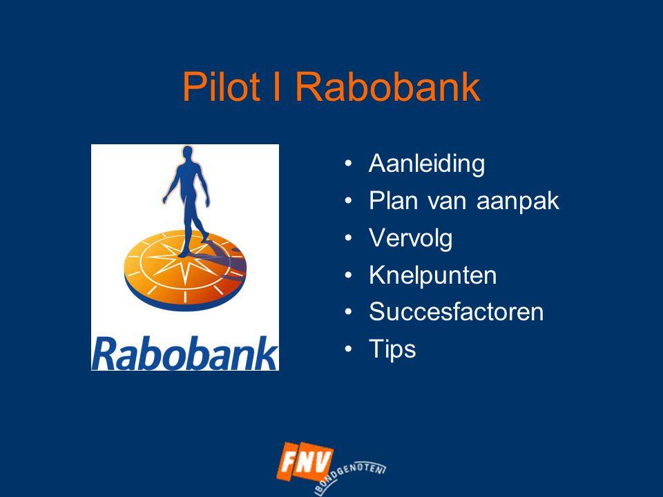 Pilot I Rabobank •Aanleiding •Plan van aanpak •Vervolg •Knelpunten •Succesfactoren •Tips