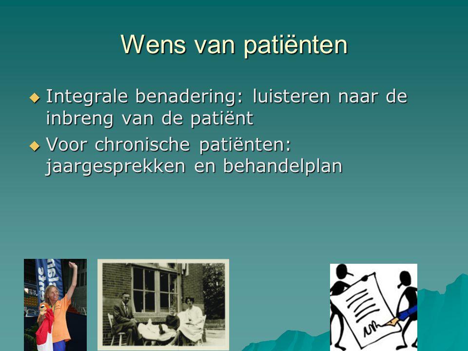 Wens van patiënten  Integrale benadering: luisteren naar de inbreng van de patiënt  Voor chronische patiënten: jaargesprekken en behandelplan