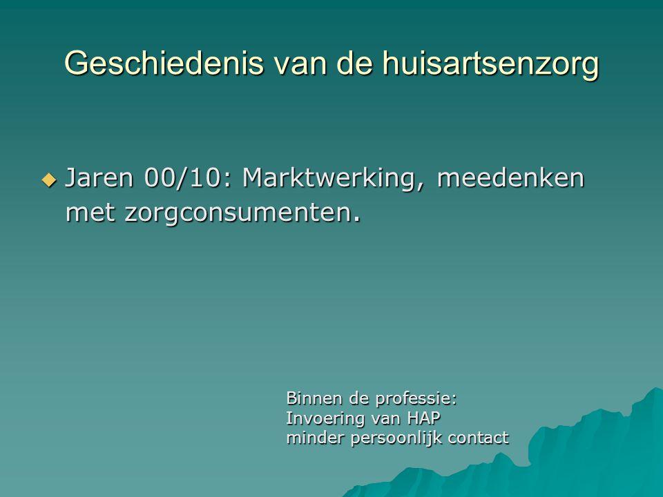 Geschiedenis van de huisartsenzorg  Jaren 00/10: Marktwerking, meedenken met zorgconsumenten.