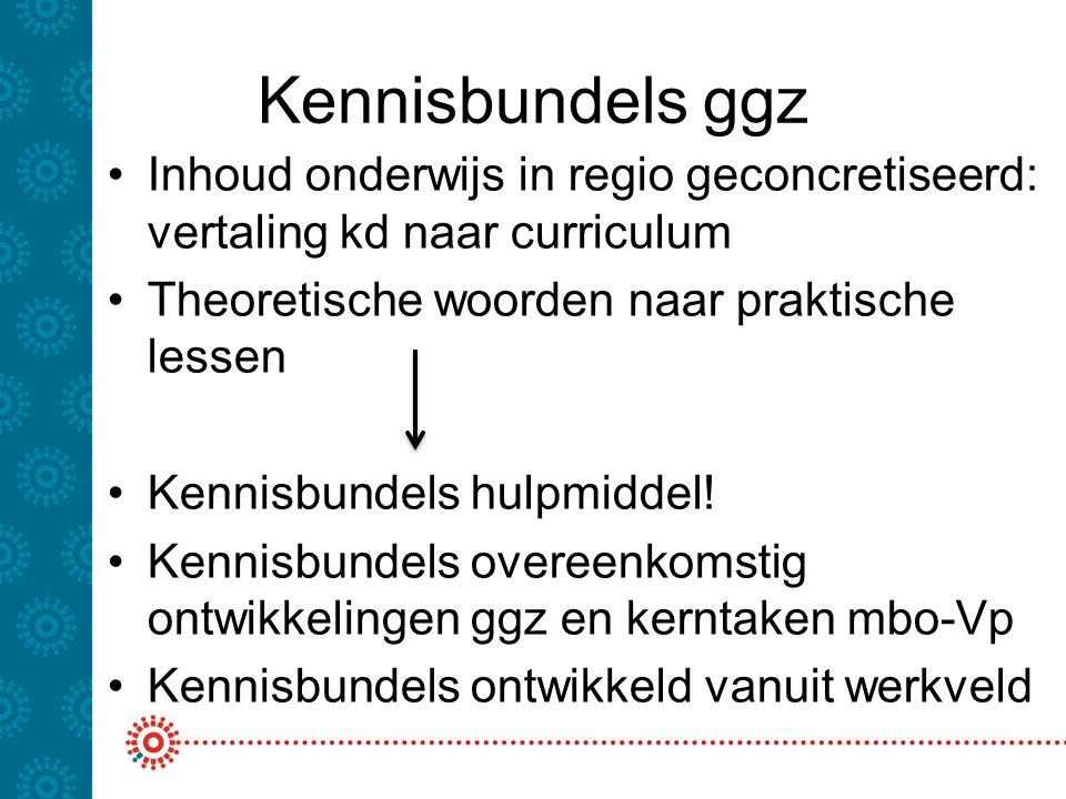 Kennisbundels ggz •Inhoud onderwijs in regio geconcretiseerd: vertaling kd naar curriculum •Theoretische woorden naar praktische lessen •Kennisbundels