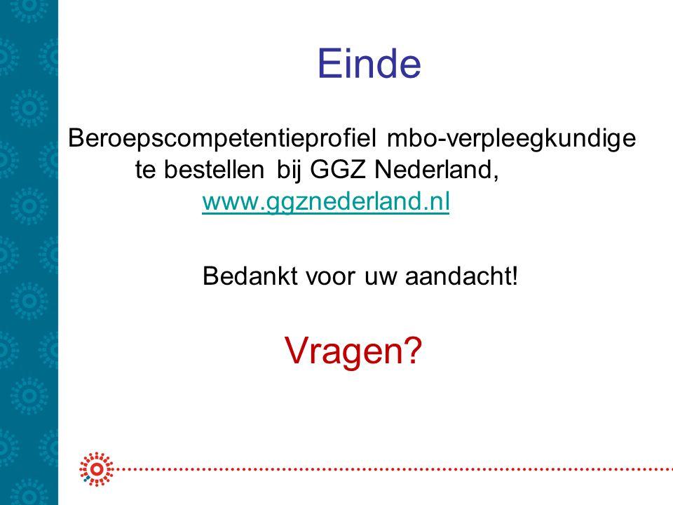 Einde Beroepscompetentieprofiel mbo-verpleegkundige te bestellen bij GGZ Nederland, www.ggznederland.nl www.ggznederland.nl Bedankt voor uw aandacht!