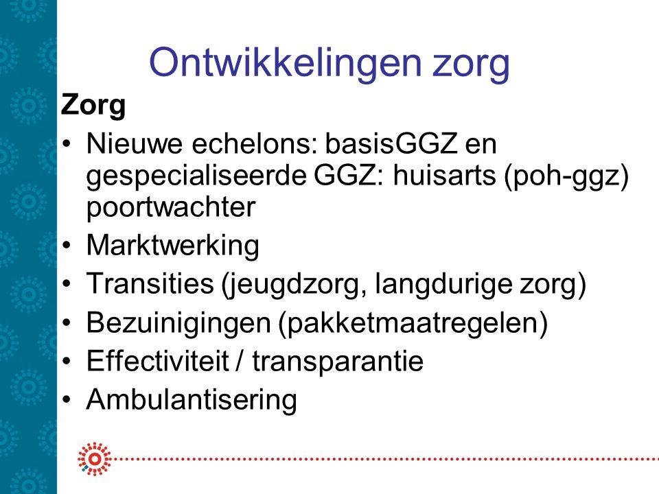 Ontwikkelingen zorg Zorg •Nieuwe echelons: basisGGZ en gespecialiseerde GGZ: huisarts (poh-ggz) poortwachter •Marktwerking •Transities (jeugdzorg, lan