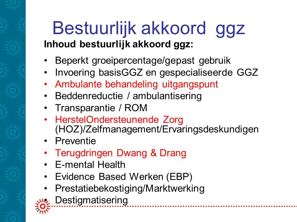 Bestuurlijk akkoord ggz Inhoud bestuurlijk akkoord ggz: •Beperkt groeipercentage/gepast gebruik •Invoering basisGGZ en gespecialiseerde GGZ •Ambulante