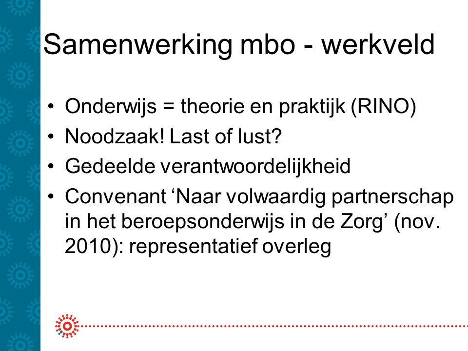 Samenwerking mbo - werkveld •Onderwijs = theorie en praktijk (RINO) •Noodzaak! Last of lust? •Gedeelde verantwoordelijkheid •Convenant 'Naar volwaardi