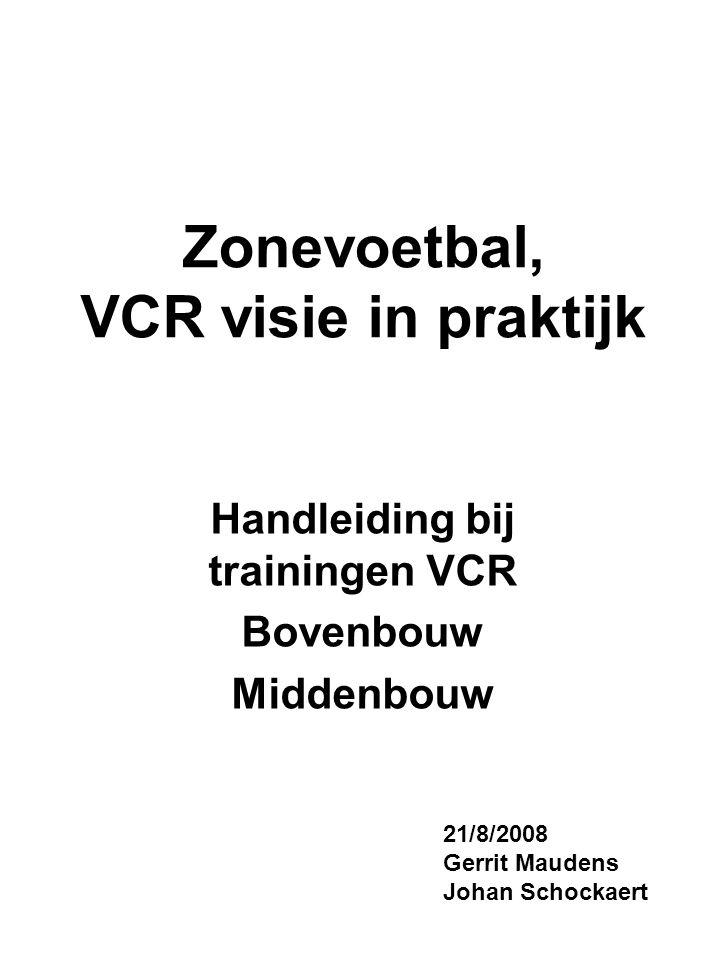 Zonevoetbal, VCR visie in praktijk Handleiding bij trainingen VCR Bovenbouw Middenbouw 21/8/2008 Gerrit Maudens Johan Schockaert