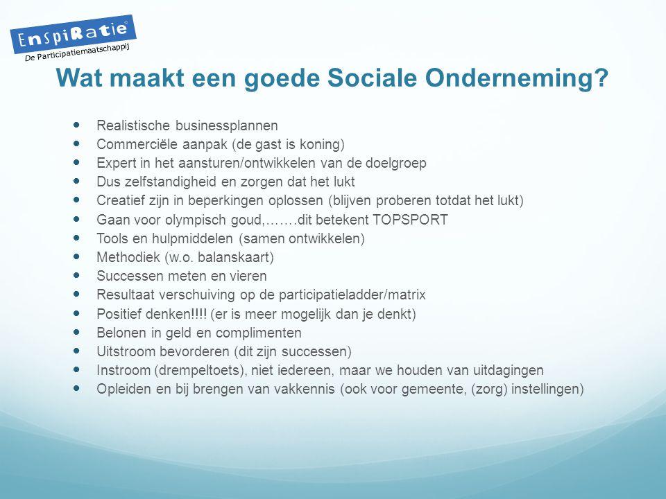 Wat maakt een goede Sociale Onderneming?  Realistische businessplannen  Commerciële aanpak (de gast is koning)  Expert in het aansturen/ontwikkelen
