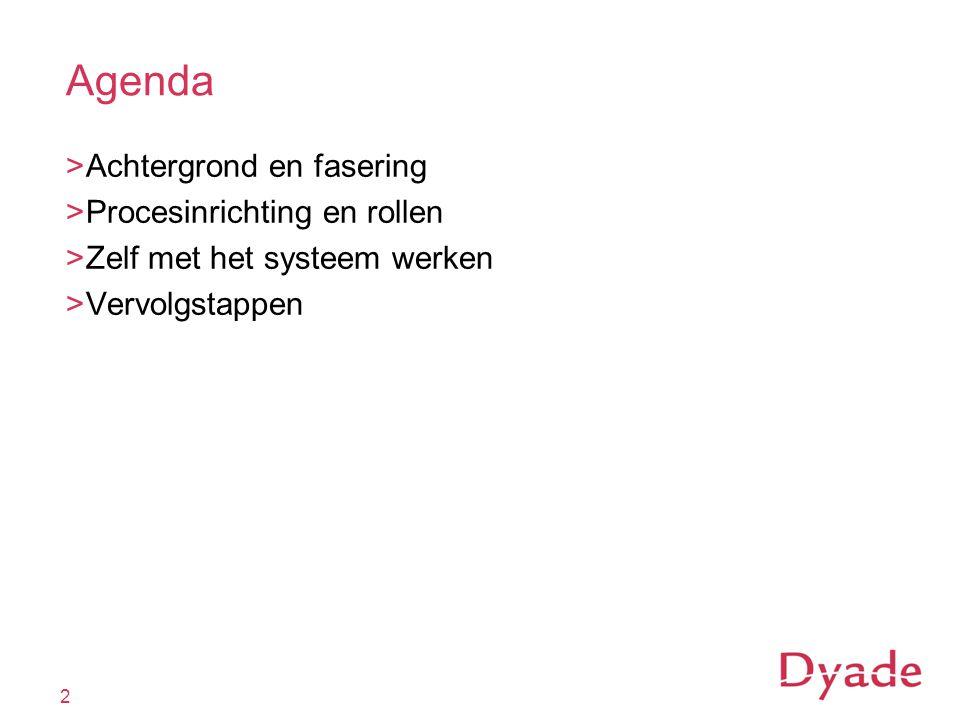 Agenda >Achtergrond en fasering >Procesinrichting en rollen >Zelf met het systeem werken >Vervolgstappen 2
