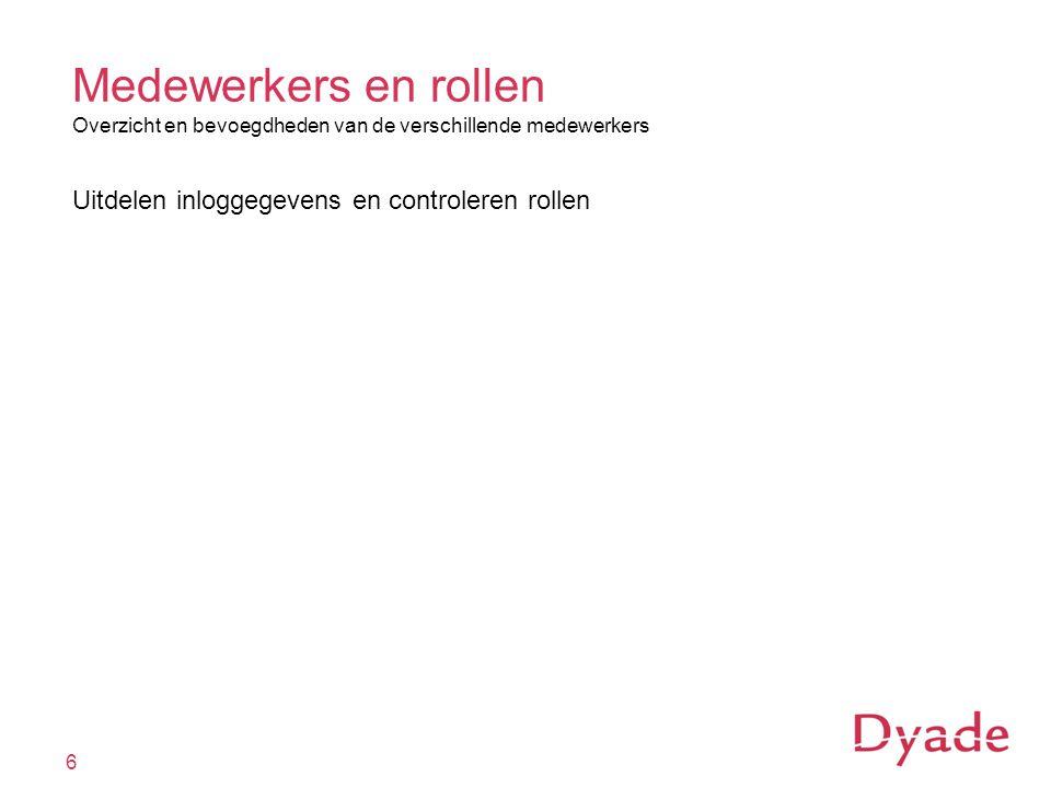 6 Medewerkers en rollen Overzicht en bevoegdheden van de verschillende medewerkers Uitdelen inloggegevens en controleren rollen