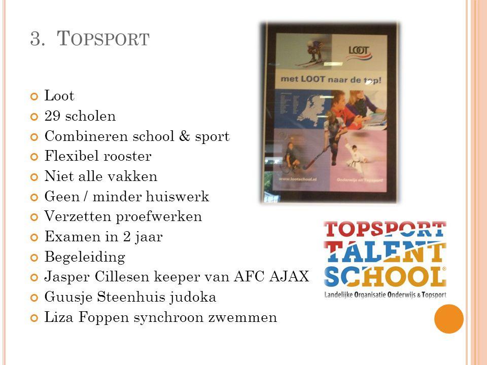 3.T OPSPORT Loot 29 scholen Combineren school & sport Flexibel rooster Niet alle vakken Geen / minder huiswerk Verzetten proefwerken Examen in 2 jaar