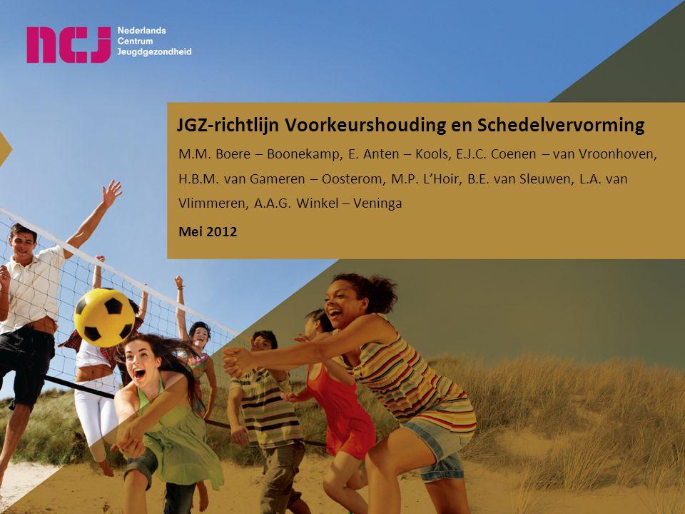 JGZ-richtlijn Voorkeurshouding en Schedelvervorming M.M. Boere – Boonekamp, E. Anten – Kools, E.J.C. Coenen – van Vroonhoven, H.B.M. van Gameren – Oos