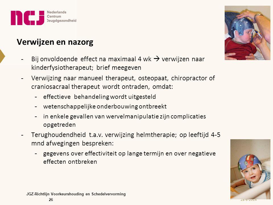 Verwijzen en nazorg -Bij onvoldoende effect na maximaal 4 wk  verwijzen naar kinderfysiotherapeut; brief meegeven -Verwijzing naar manueel therapeut,