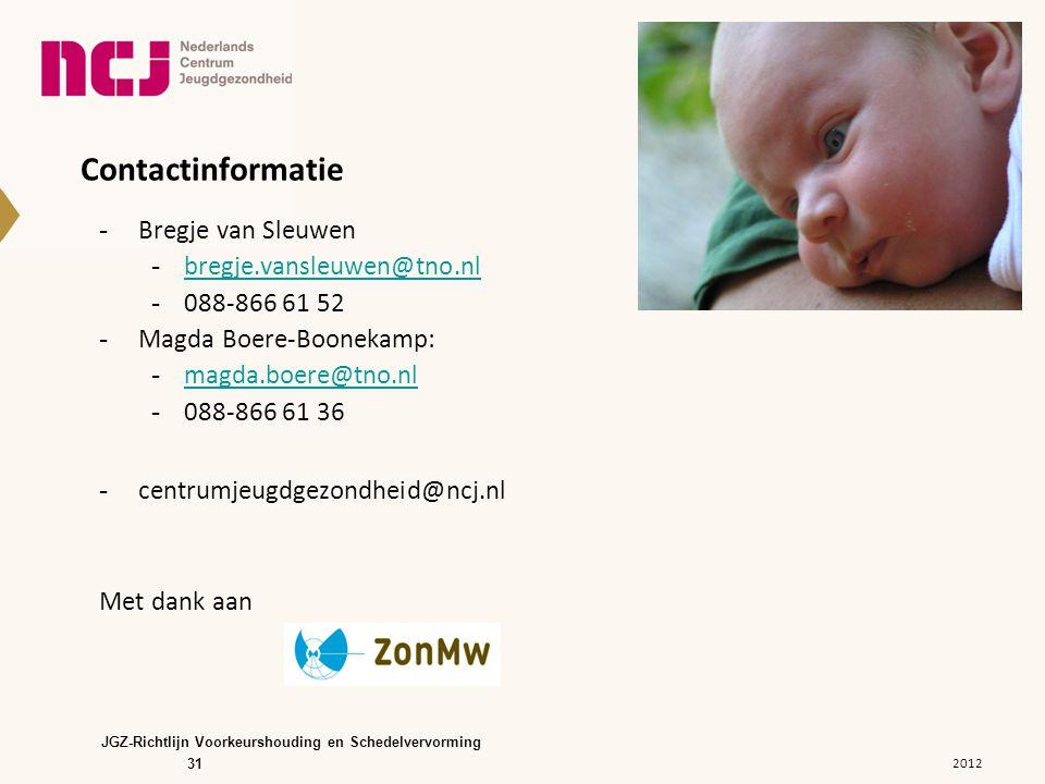 31 Contactinformatie -Bregje van Sleuwen -bregje.vansleuwen@tno.nlbregje.vansleuwen@tno.nl -088-866 61 52 -Magda Boere-Boonekamp: -magda.boere@tno.nlm