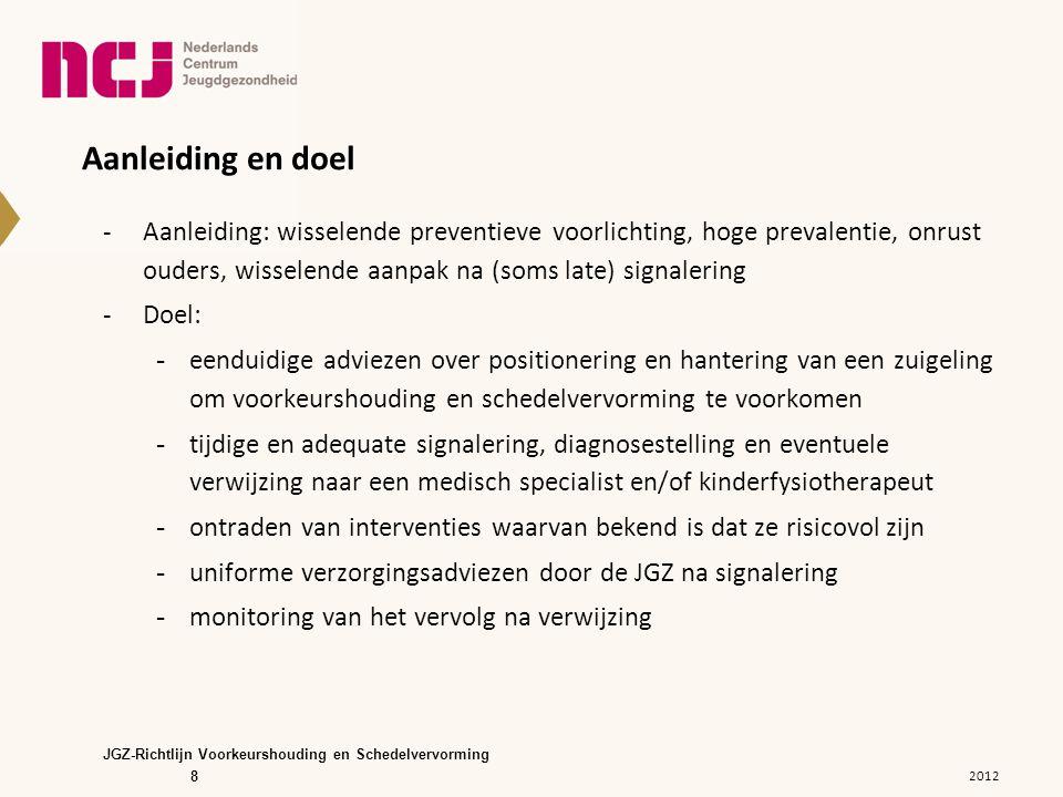 Randvoorwaarden -Benodigde competenties en deskundigheid • scholing in kennis en vaardigheden, vooral ook in het kunnen voordoen van de houdingsadviezen -Samenwerking met (keten)partners • afstemming in de keten van zorg 2012 JGZ-Richtlijn Voorkeurshouding en Schedelvervorming 29