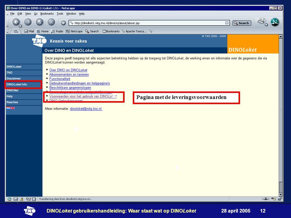 28 april 2005DINOLoket gebruikershandleiding: Waar staat wat op DINOLoket12 3 2 4 Pagina met de leveringsvoorwaarden