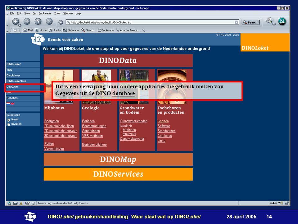28 april 2005DINOLoket gebruikershandleiding: Waar staat wat op DINOLoket14 Dit is een verwijzing naar andere applicaties die gebruik maken van Gegevens uit de DINO database