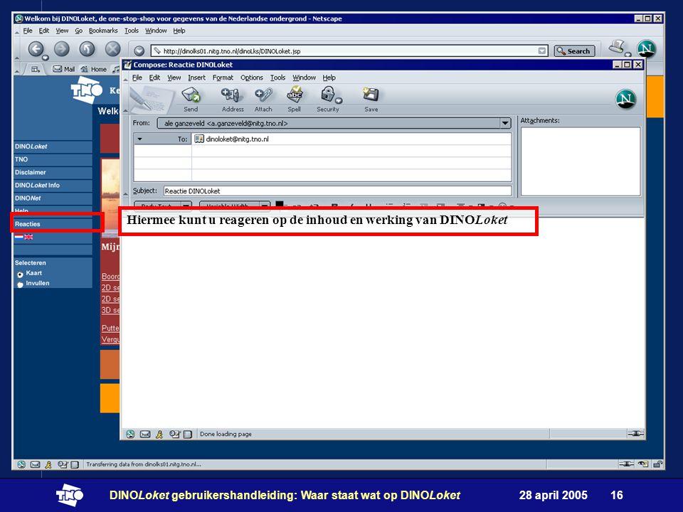 28 april 2005DINOLoket gebruikershandleiding: Waar staat wat op DINOLoket16 3 2 4 Hiermee kunt u reageren op de inhoud en werking van DINOLoket