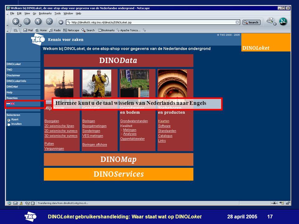 28 april 2005DINOLoket gebruikershandleiding: Waar staat wat op DINOLoket17 Hiermee kunt u de taal wisselen van Nederlands naar Engels