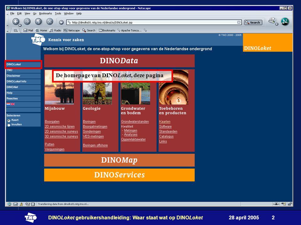 28 april 2005DINOLoket gebruikershandleiding: Waar staat wat op DINOLoket2 De homepage van DINOLoket, deze pagina