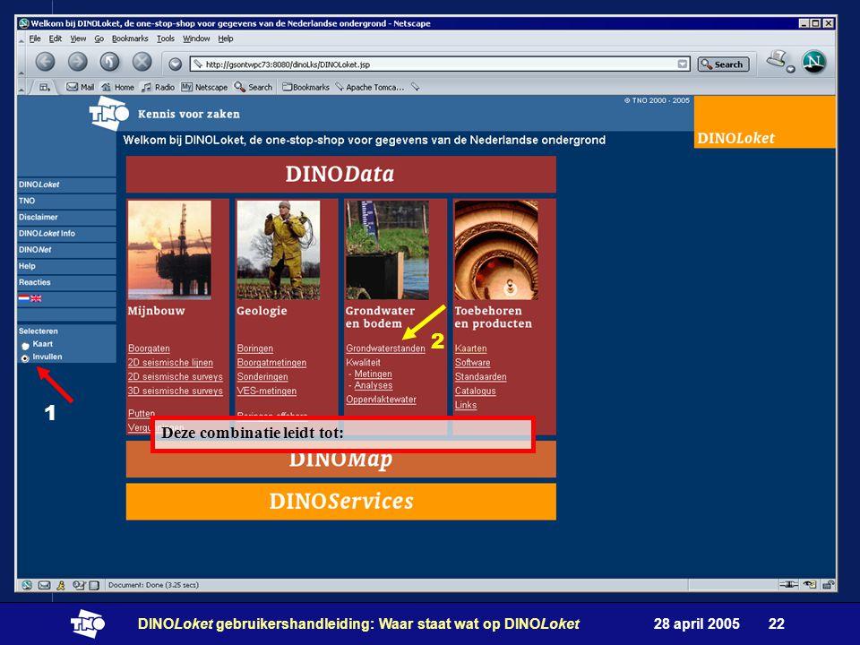 28 april 2005DINOLoket gebruikershandleiding: Waar staat wat op DINOLoket22 1 2 Deze combinatie leidt tot: